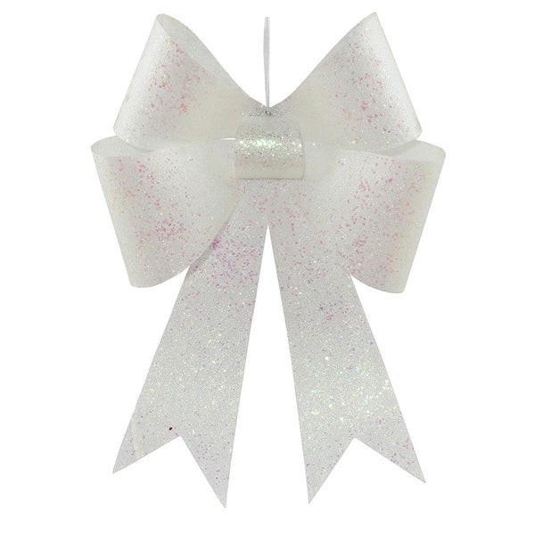 Pack of 2 Commercial White Sequin and Glitter Bows Christmas Ornament Decorations 18''