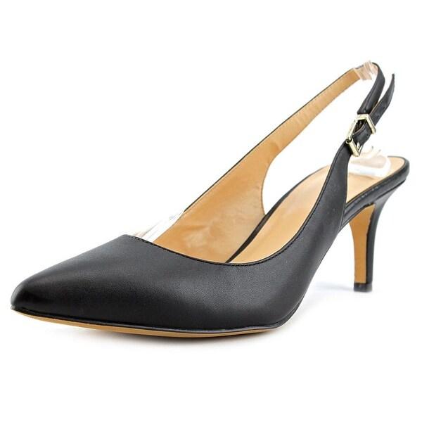 Sole Society Denver Women Pointed Toe Leather Black Slingback Heel