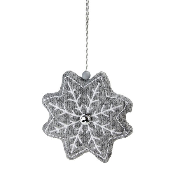 """5"""" Gray and White Knitted Snowflake Christmas Ornament"""