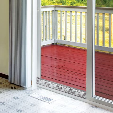 Sliding Door Security Bar - Decorative Adjustable Glass Patio Door Jammer -Door Stopper Blocker Fits in Track To Prevent Opening