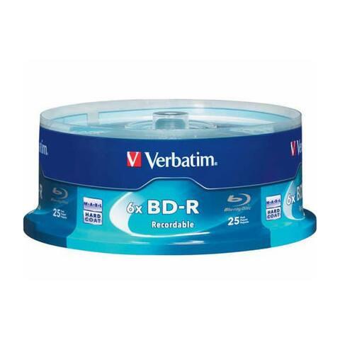 Verbatim DM4839M Verbatim 25 GB 6x Blu-ray Single Layer Recordable Disc BD-R 25-Disc Spindle - Multicolor