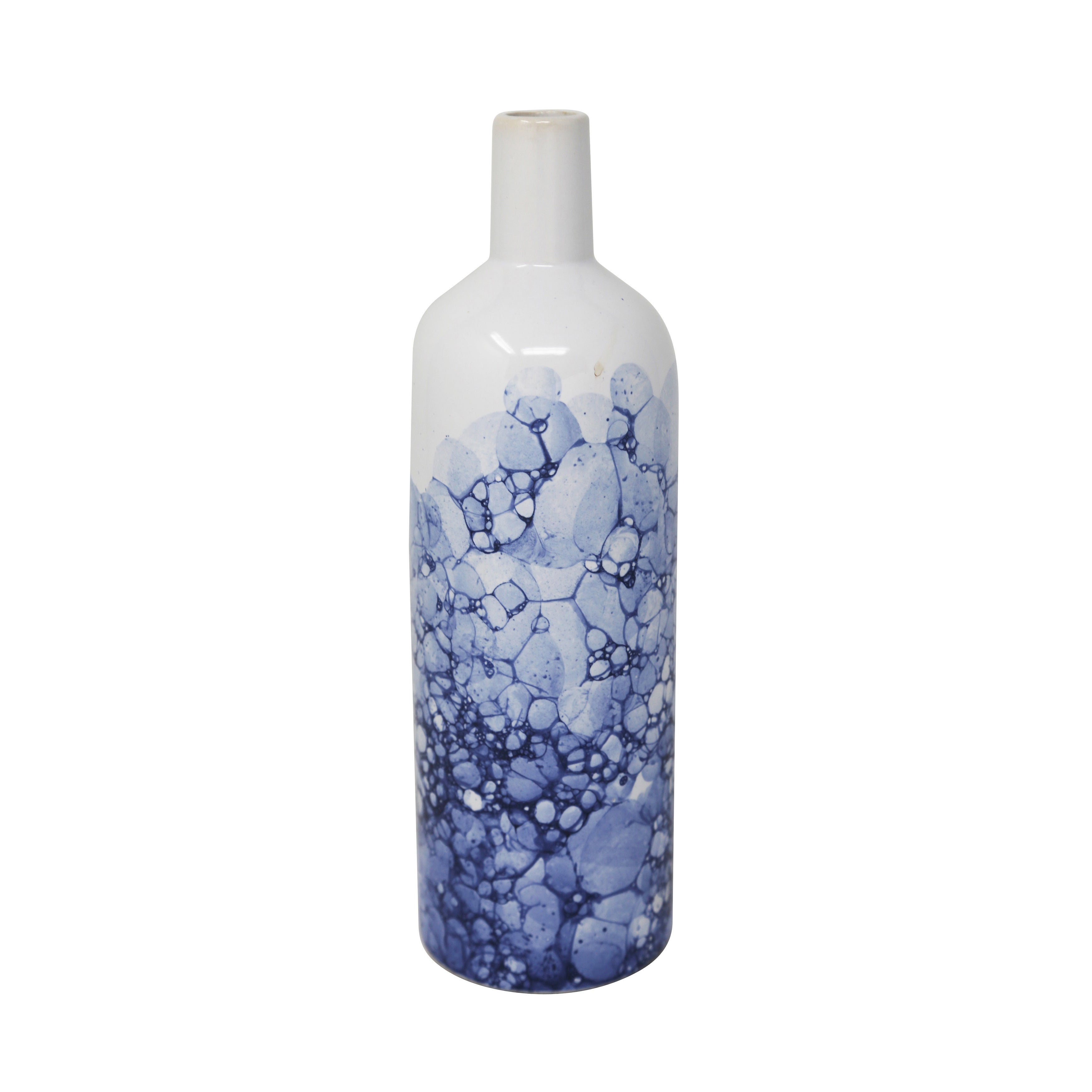 Ceramic Table Vase in Bottle Shape, Large, White and Blue