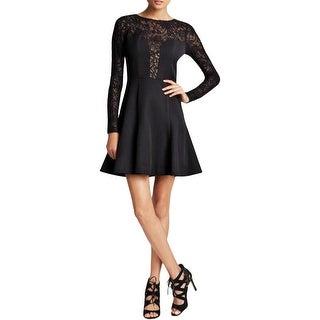 Black Halo Womens Cocktail Dress Lace Yoke Long Sleeve