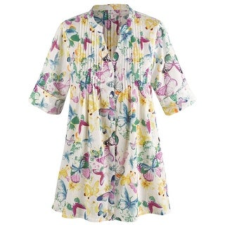 Women's Tunic Top - Butterfly Fun Pleated Button Down Blouse
