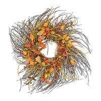 """28"""" Decorative Artificial Autumn Mixed Berry, Lantern and Pine Cone Wreath - Unlit - Brown"""