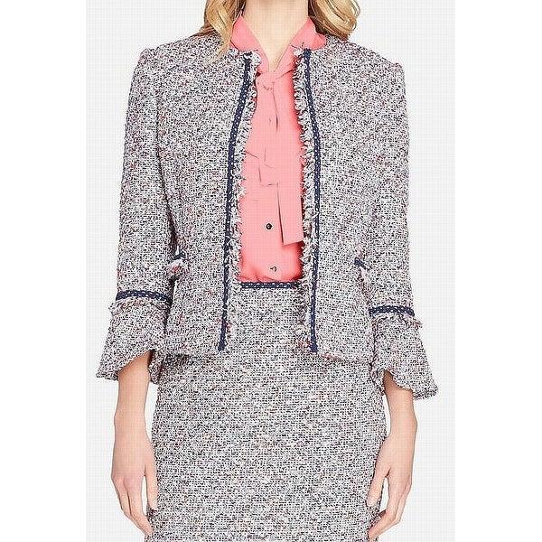 Tahari by ASL Blue Womens Size 4 Tweed Open Front Metallic Jacket