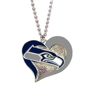 Seattle Seahawks NFL Swirl Heart Necklace