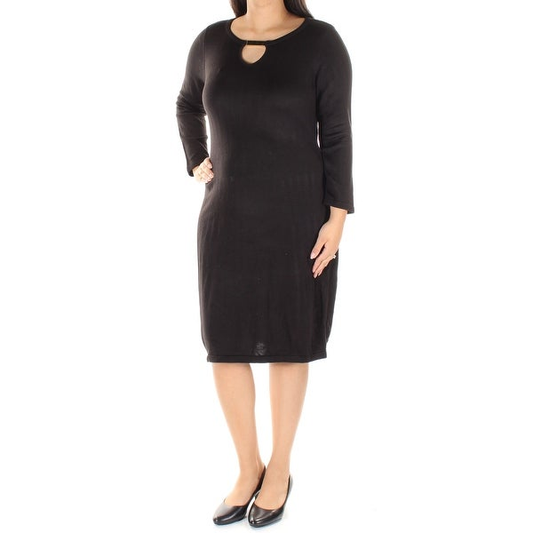 1878a042 Shop Womens Black Long Sleeve Knee Length Wear To Work Dress Size: L - Free  Shipping On Orders Over $45 - Overstock - 21269765