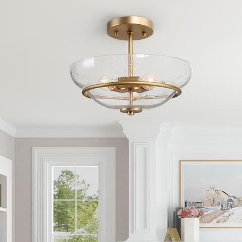 """Mid-century Modern Gold 3-light Semi-flush Mount Light Bowl Glass Ceiling Light - W12""""x H9"""""""