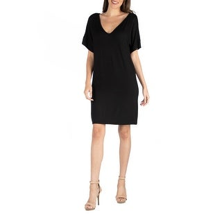24seven Comfort Apparel Loose Fit T Shirt Dress with V Neck R0026148