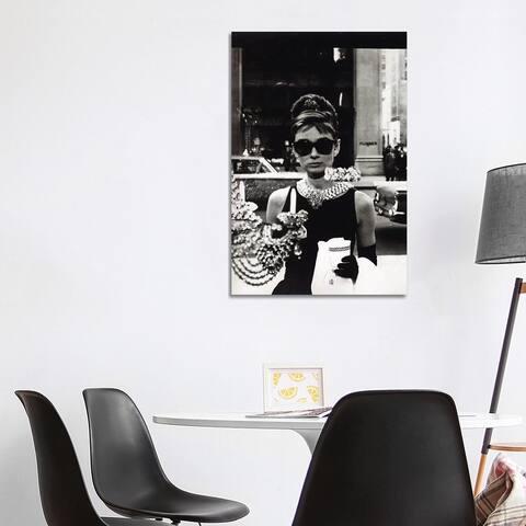 "iCanvas ""Audrey Hepburn As Seen Through Tiffany's Storefront Window"" by Radio Days Canvas Print"