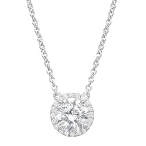 Halo Necklace with Swarovski Zirconia in Sterling Silver - White