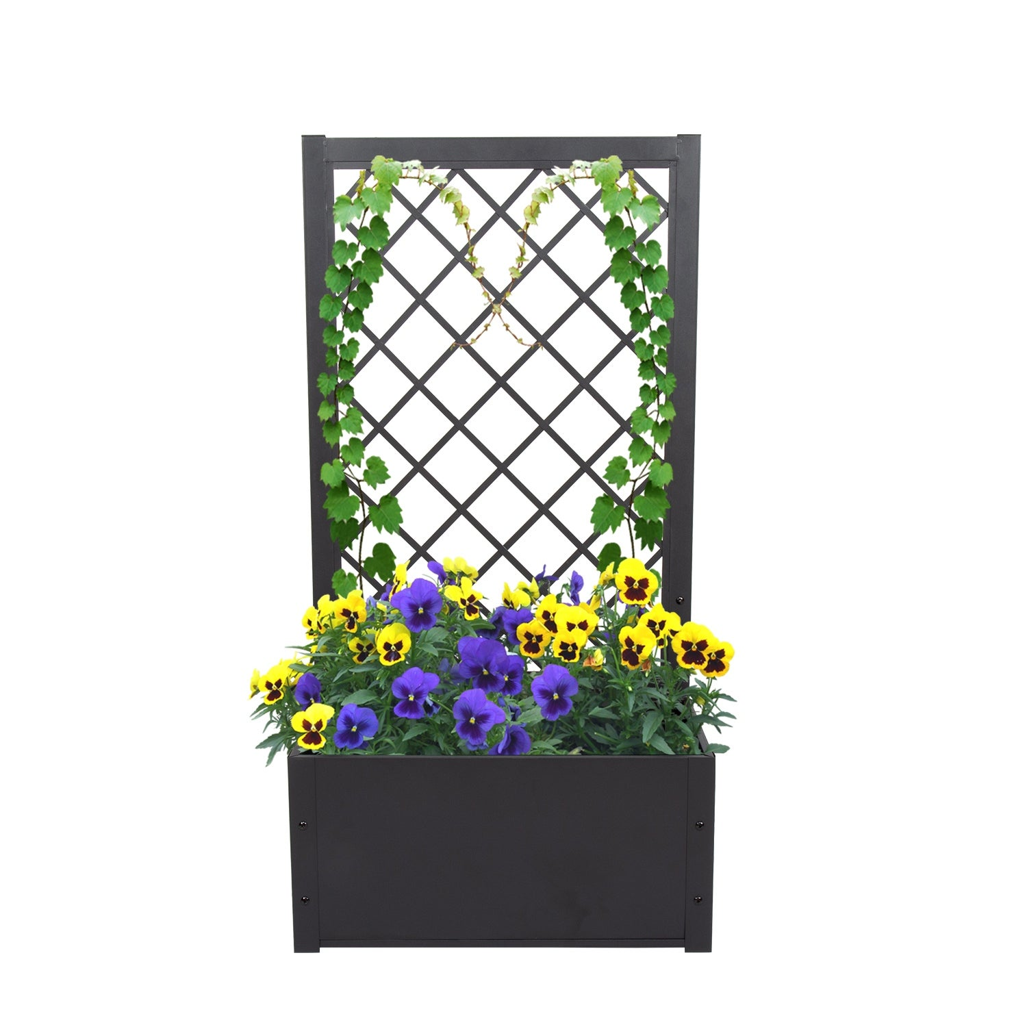 Shop Kinbor Metal Raised Bed With Trellis Elevated Garden Planter Box For Yard Patio Free Standing Outdoor Container Bed Overstock 31677550