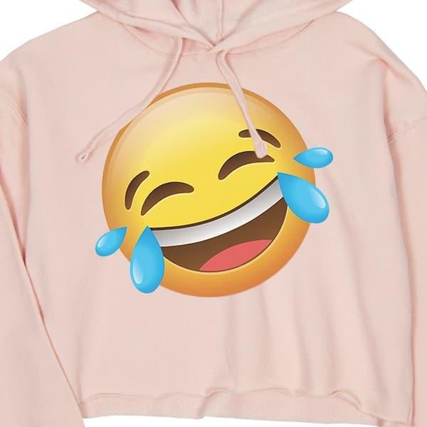 Pink Smiling Happy Bun Crop Hoodie