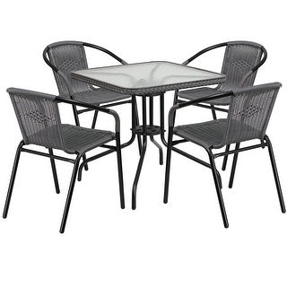 Skovde Square 28'' Glass Metal Table w/Gray Rattan Edging and 4 Gray Rattan Stack Chairs for Restaurant/Bar/Pub/Patio