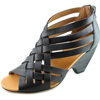 Corso Como Genni Women Open Toe Leather Black Sandals