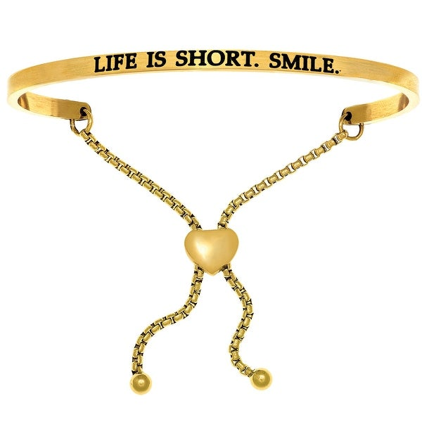 "Intuitions ""Life is Short, Smile"" Yellow Stainless Steel Adjustable Bolo Bracelet"