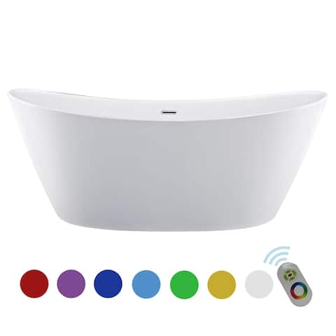 "67"" x 30"" Freestanding Hourglass Soaking Acryic Lights Bathtub in White with Brushed Nickel Overflow and Drain"