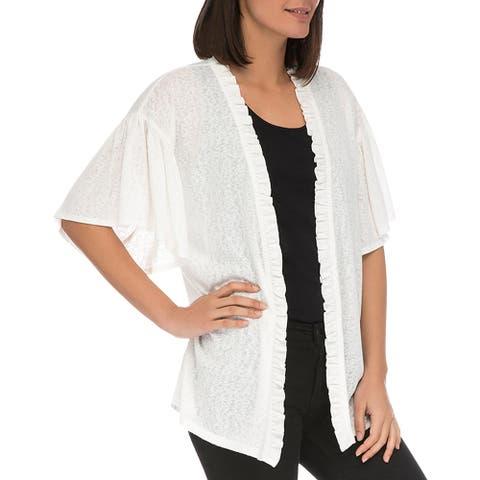 Bobeau Womens Marianne Cardigan Sweater Ruffled Short Sleeves