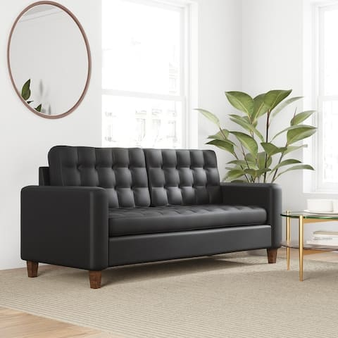 """Brookside Brynn 76"""" Square Arm Sofa - Faux Leather, Velvet, and Fabric Options"""