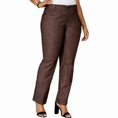Lee Women's Brown Size 20W Plus Flex Motion Dress Pants Stretch