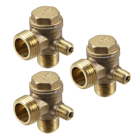 "Air Compressor Check Valve 90 Degree Right Brass 1/8"" x 3/8"" x 1/2"" 3Pcs - 1/8"" x 3/8"" x 1/2"" Chamfer (3Pcs)"