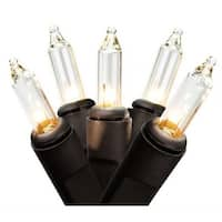 2.5 in. Spacing Clear Mini Christmas Lights Bulb, Black Wire -