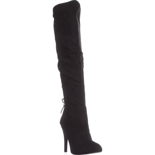 Nina Keely Over-The-Knee Rear Lace Boots, True Black