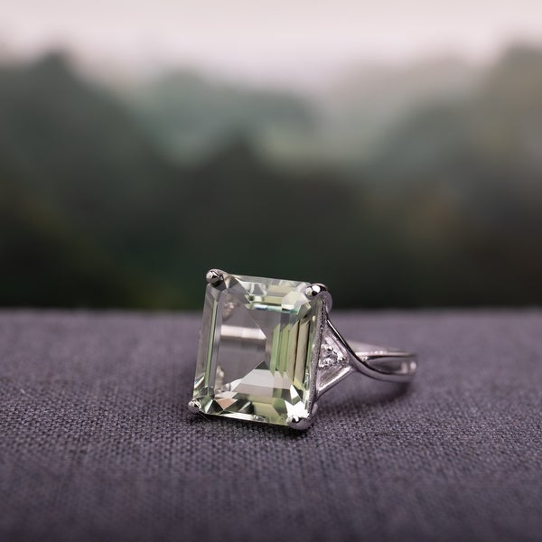Rectangular 5 5/8 ct. Green Amethyst / White Topaz Sterling Silver Cocktail Ring by Miadora. Opens flyout.
