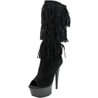 Highest Heel Amber Women Peep-Toe Synthetic Mid Calf Boot