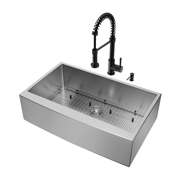 Shop Vigo VG15387 36  Single Basin Undermount Kitchen Sink - with Edison Matte Black - STAINLESS STEEL - n/a - Free Shipping Today - Overstock.com - ...  sc 1 st  Overstock.com & Shop Vigo VG15387 36