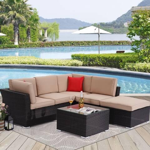 Bonosuki 5 Seater Outdoor Sectional Rattan Conversation Sofa