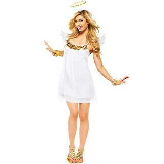 Goddessey Babydoll Angel Adult Costume (Gold) - White
