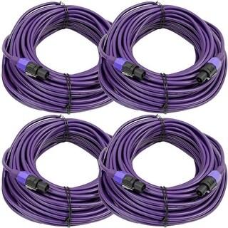 SEISMIC AUDIO 4 Pack of 12 Gauge 100' Purple Speakon to Speakon Speaker Cables