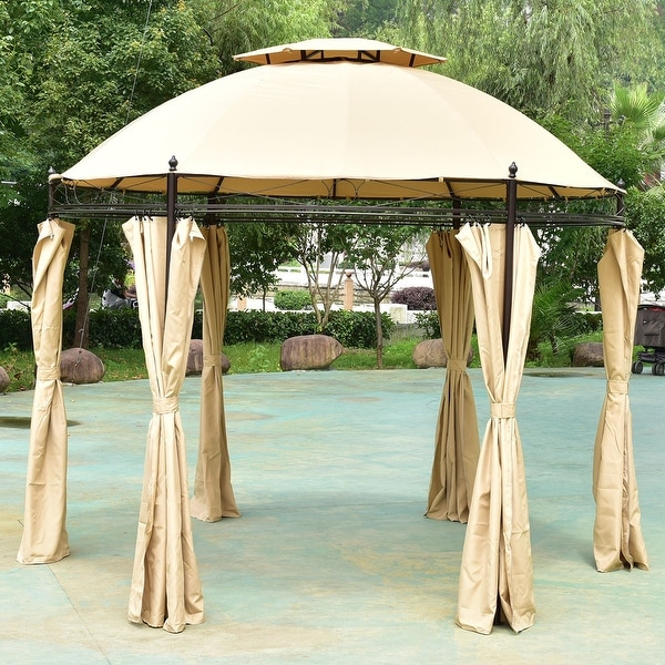 Costway 10ft Round Outdoor Gazebo Canopy Shelter Awning Tent Patio Garden Light Brown