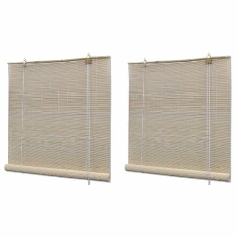 "vidaXL Natural Bamboo Roller Blinds 2 pcs 47.2""x63"""