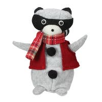 "7"" Wind-Up Musical Rustic Animated Raccoon Tabletop Christmas Decoration - RED"