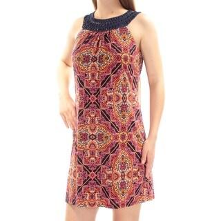 Womens Orange Paisley Sleeveless Mini Sheath Cocktail Dress Size: 8