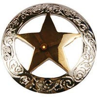 Engraved Star - Concho Gold & Silver Screwback 1""