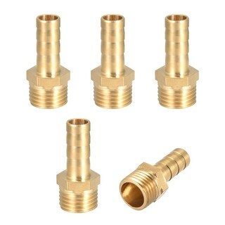 "Brass Barb Hose Fitting Connector Adapter 8mm Barbed x 1/4"" G Male Pipe 5pcs - 1/4"" G x 8mm"