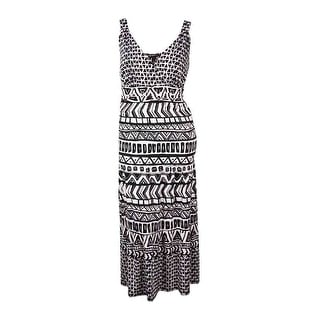 INC Women's V-Neck Printed Ruched Jersey Maxi Dress