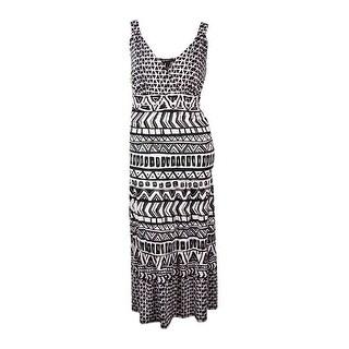 INC Women's V-Neck Printed Ruched Jersey Maxi Dress - aquatic tribal