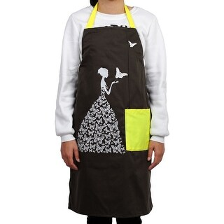 Home Butterfly Pattern Front Patch Pocket Adjustable Cooking Apron Coffee Color