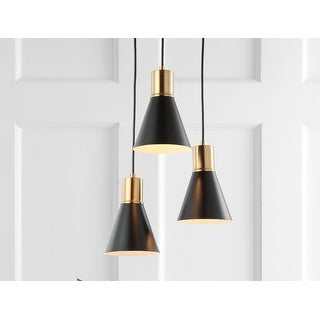 """Link to Apollo 15"""" 3-Light Metal LED Cluster Pendant, Black/Brass Gold by JONATHAN  Y Similar Items in Pendant Lights"""