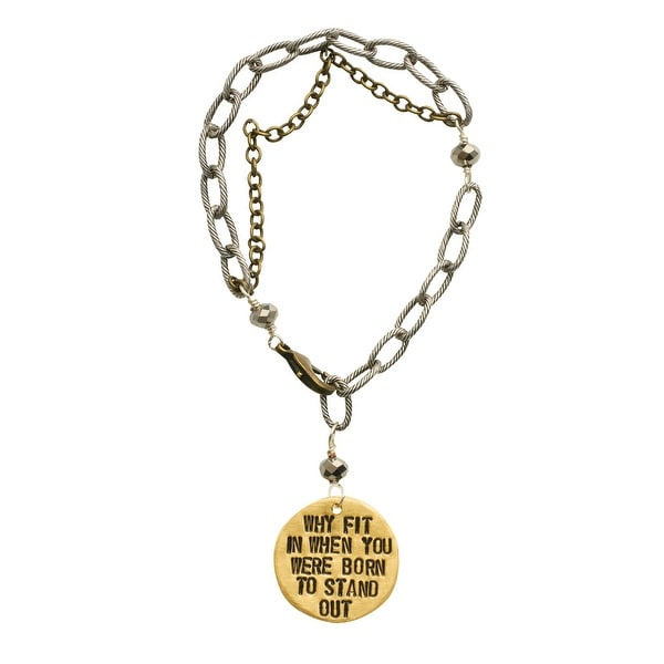 Women's Hand-Stamped Message Tag Brass Link Bracelet - Why Fit In - bronze