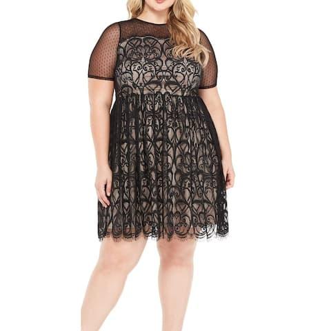 London Times Women's Dress Deep Black Size 16W Plus A-Line Mesh Lace