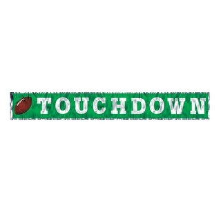 """Pack of 12 Green Metallic Touchdown Fringed Banner Decoration 8"""" x 5'"""