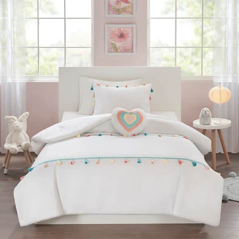 Mi Zone Kids Tanya White Tassel Comforter Set