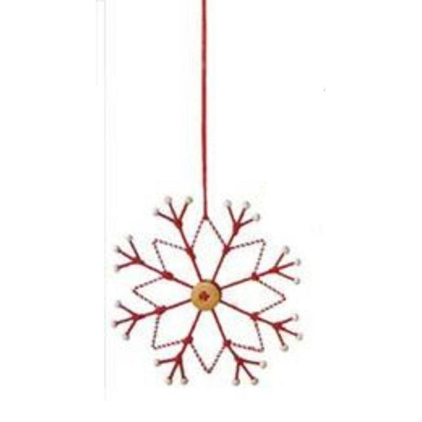 """6.5"""" Alpine Chic Tan, White and Red Country Rustic Style Snowflake Christmas Ornament"""