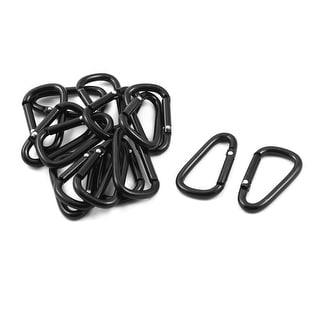 Sport Camping Metal D Ring Shaped Bag Carabiner Hook Black 15 PCS